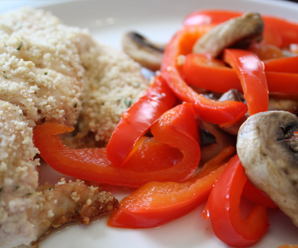 SDO Nutrition chicken mushrooms and peppers