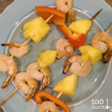shrimp chicken pineapple kebab
